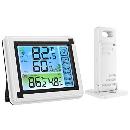 デジタル温湿度計 外気温度計 ワイヤレス 温度湿度計 室内 室外 三つセンサー 高精度 LCD大画面 バックライト機能付き 最高最低温湿度表示 置き掛け両用タイプ マグネット付 (カラフル 一つセンサー)