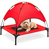 Best Choice Products 30in Elevated Cooling Dog Bed, Outdoor Raised Mesh Pet Cot w/Removable Canopy Shade Tent, Carrying Bag, Breathable Fabric - Red