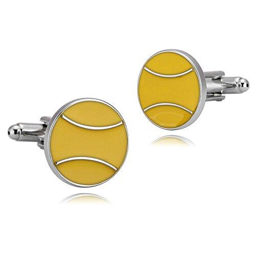 Aeici Argento Giallo Uomo Gemelli Gemelli con Sfera da Tennis