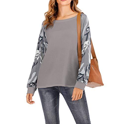 Tops/Blusas/Camisas/Camisetas para Mujer, WARMWORD Camisas Lindas Casuales para Mujer Blusas De Patchwork Camuflaje Blusa con Camiseta De Manga Larga Mujeres Otoño Invierno Ropa