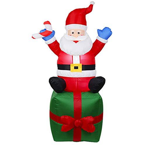 CXZC Papá Noel hinchable de 180 cm con iluminación LED, resistente al viento, decoración navideña para el jardín interior y exterior, con clavos y cuerdas