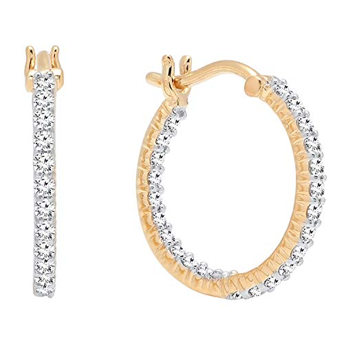 Dazzlingrock Collection 0.45 Carat (ctw) 10K Gold Round Lab Grown White Diamond Fine In And Out Hoop Earrings 1/2 CT, Yellow Gold