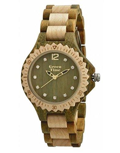 GREEN TIME BY ZZERO: OROLOGIO LADY in LEGNO SANDALO VERDE e ACERO made in italy, ZW064E. Misura cassa 35 mm circa.