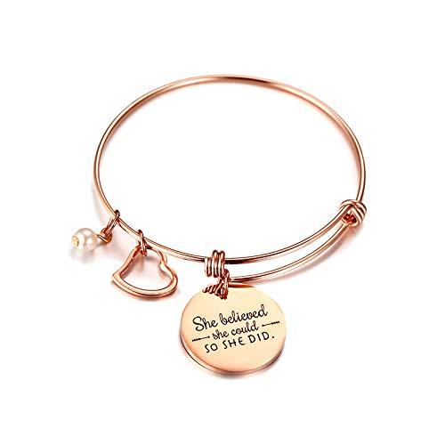 OIDEA Damen Armband mit Herz Anhänger, Armkette Armreif Gravierte Schrift She Believed She Could So She Did, Silber Rosegold Geschenk