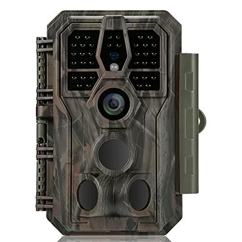 GardePro E5 Wildkamera 24MP 1296P Nachtsichtbereich Bis 30m Wildkamera mit Bewegungsmelder Nachtsicht 0.1S Schnelle Trigger, No Glow 940nm IR LEDs, IP66 Wasserdicht ,120° Erfassungswinkel