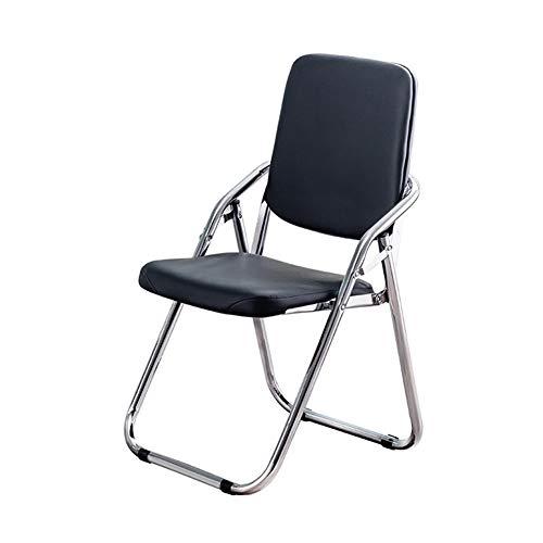Lanrui Imitación de Cuero Plegable Silla sillas Negro reja Protectora de Cuero de imitación y Strong portátil mediodía Resto Tumbona Chaise tubería de Hierro bureaufor for la Seguridad del Comedor
