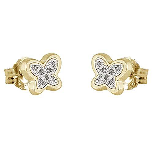 Pendientes oro bicolor 18k colección Moonlight 6.8mm. diamantes brillantes 0.06ct. mariposa...