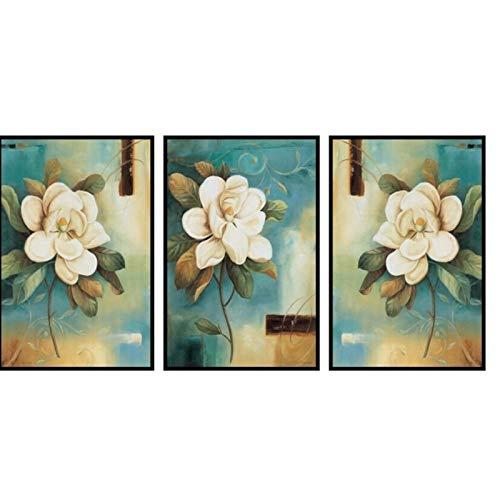 PDFKE Flores Blancas Fondo Azul Lienzo Moderno Póster de Arte de Pared e Impresiones Pintura para la Sala de Estar Decoración del hogar Regalo -20x30 Pulgadas Sin Marco 3 PCS