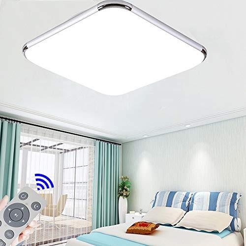 Regulable LED 48W lámpara de techo moderna LED luz de techo Cuadrado delgada Plata para Dormitorio Cocina Sala de estar Comedor Balcón Pasillo
