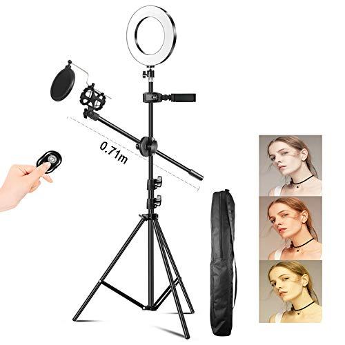 LED-ringlamp 16 cm, Met Statief En Telefoonstandaard, Voor Video En Live-uitzending, Dimbare Make-upringlamp Voor Fotografie, Mini-LED-lamp,B,1.2m