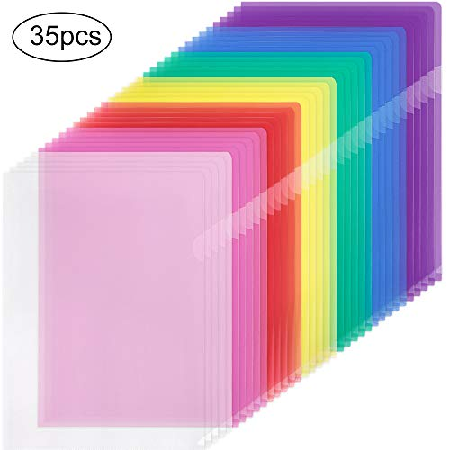 EOOUT 35pcs Plastic Clear Document Folders Project Pockets, Letter Size and A4 Size, 7 Assorted Colors