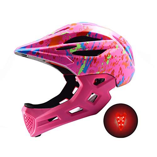 DYOYO Cascos Integral con Mentón Desmontable para Niños, Casco de Bicicleta con Luz, Seguridad Protectora Casco Niños y Niñas para Balance Bike Scooter Patines 48-57cm