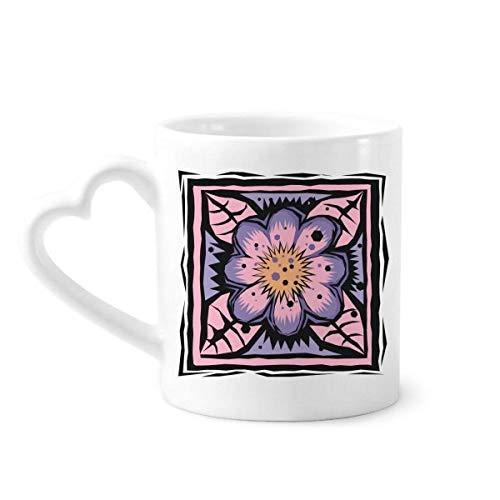 DIYthinker Purpurrote Blume Mexicon Kultur Element Gravieren Kaffeetasse Keramik Keramik-Schale mit Herzen Griff 12 Unzen Geschenk Mehrfarbig