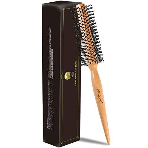 BFWood Kleiner runder Haarbürstenroller mit Holzgriff und Nylonborsten