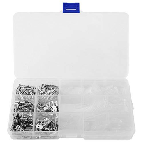 270 Stück 6,3/4,8/2,8 mm Kupfer-Crimpanschluss Stecker + Buchse Klingenanschlüsse und transparente Hülsen Silber