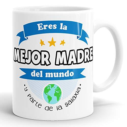 REGALOS ESTRELLA AZUL Taza día de la Madre Regalo para Mama, a la Mejor mamá del Mundo, Regalos Madres, Regalos día de la Madre, Taza con Frases (Mejor Madre del Mundo)