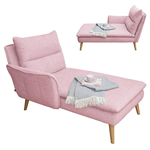 place to be. Recamiere Ottomane Chaiselongue Relaxliege mit Armlehne Links Buche massiv rosa P9180 mit Fleckschutz