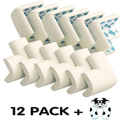 12pcs Protector de Esquinas Bebes y Niños Protecciones para bebés, Espuma Suave Protectores de Seguridad para Mesas Esquina y Aualquier Tipo de Muebles Anti-colisión Esquineras Cojines Protectores