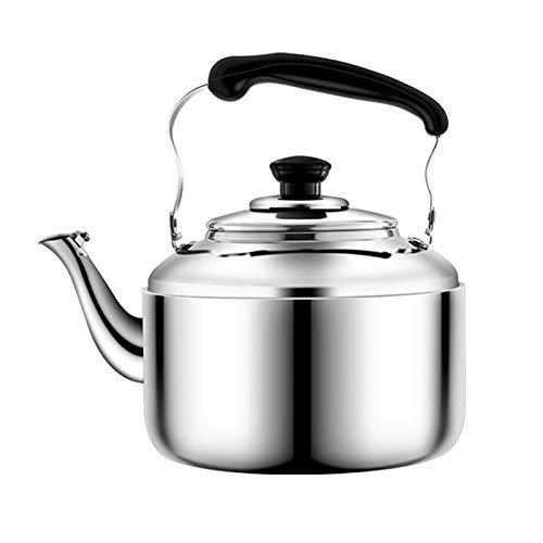 tea kettle Bouilloire for Thé Stove Top Acier Inoxydable -Whistle Bouilloire À Thé, Poignée Résistant À La Chaleur Maison Cuisine de Grande Capacité Teapot (Couleur : Silver, Taille : 5L)