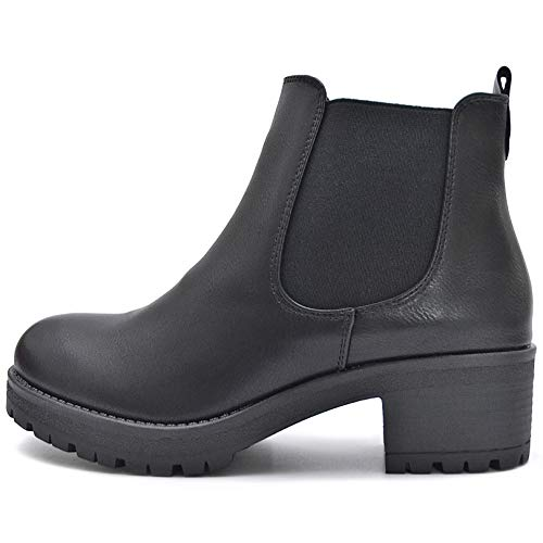 Kayla Shoes Chelsea Boots Stiefelette in Schwarz oder Beige (40 EU, Schwarz Pu Reißverschluss)