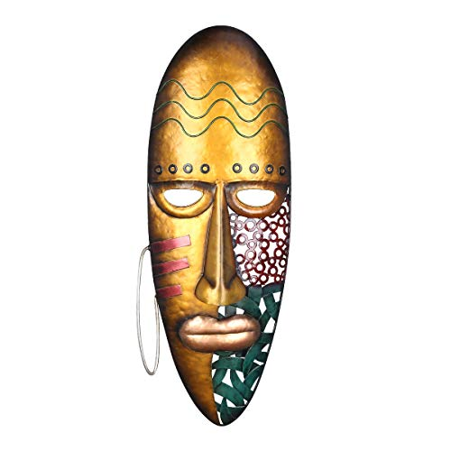 TOOARTS Maschera da Parete Dipinta Decorazione Africana della casa o del Giardino della Cultura Tribale Parete della Maschera di Ferro appesa alla Parete della Maschera di Arte della Parete