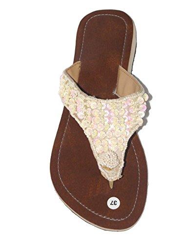 Damen Flip Sandale Fairy Zehentrenner Zehenpantolette Sommersandale Zehenstegsandale mit Perlen und Pailletten in Creme-weiß und schwarz