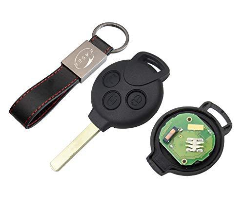 kaser Llave Mando Coche para Smart con Tarjeta Electrónica 3 Botones para FORTWO 451 Coupe' Roadster CROSSBLADE (433MHz ID46 Chip PCF7941) Transponder con Llavero KASER
