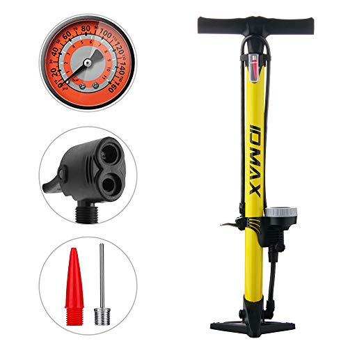 IDMAX Bike Pump, Ergonomic Bike Floor Pump Bicycle Tire Air Pump Portable Inflator Pump with Gauge & Smart Valve Head, 160 psi, Compatible with Universal Presta and Schrader Valve (Yellow)