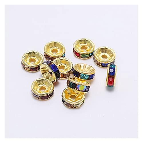 TWWSA Cuentas espaciadoras 50 unids/Lote 4 6 8 10 mm Drinestone de Oro Rhinestone Cuentas de Espaciador Sueltas para la joyería de Bricolaje Que Hace Accesorios Hecho a Mano
