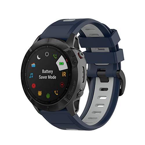 KOMI Correas de reloj de repuesto para Garmin Fenix 6X GPS, 6X Pro/Fenix 5X y 5X Plus, bandas de silicona para deportes de fitness (azul medianoche, gris)
