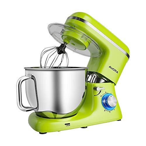 Aucma Stand Mixer,7.4QT 6-Speed Tilt-Head Food Mixer, Electric Kitchen Mixer with Dough Hook, Wire Whip & Beater (Green)