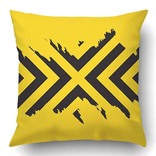 WH-CLA Pillowcase Amarillo Negro Flecha Borrosa Ed Ch Art Ding Cuadrado Suave Ambos Lados Funda De Almohada Decorativa para El Hogar Funda De Almohada Funda De Almohada Decorativa para E