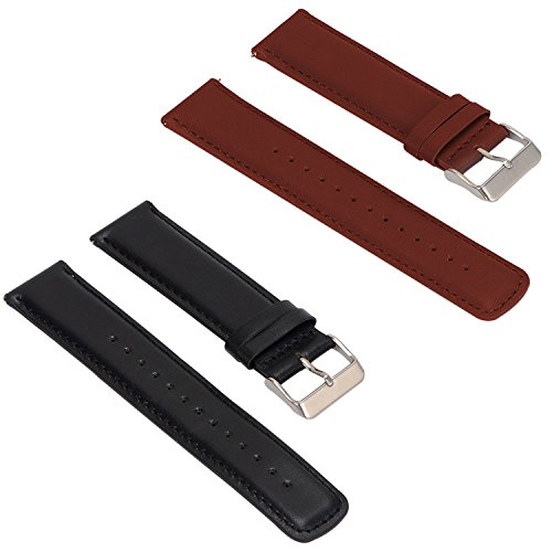 Set of 2 Replacement Leather Bands for ASUS ZenWatch 2 Smartwatch 1.63' WI501Q (not for 1.45') (Black & Brown)