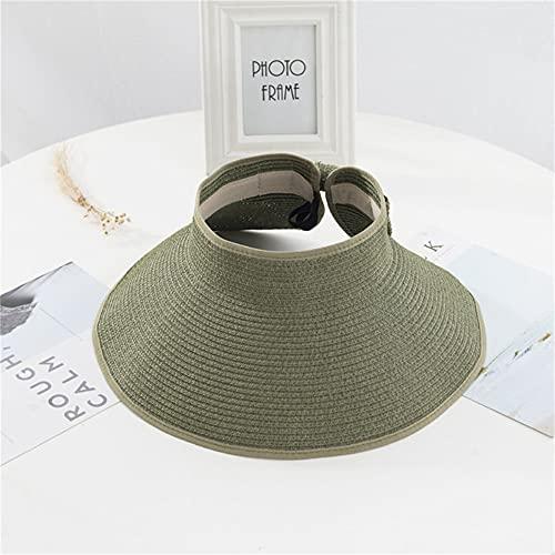 Sombrero con Viseras de Verano para Mujer, Sombrero Plegable para el Sol, Sombreros de Playa de ala Ancha y Ancha, Sombrero de Paja, Gorra de proteccin UV para la Playa, Chapeau Femme-a2