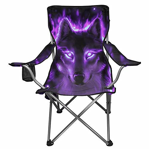 chaqlin Purple Wolf - Silla plegable para camping, sillón de camping, silla plegable y ligera para viajes al aire libre, silla de playa plegable
