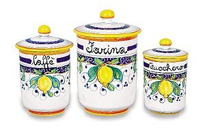 """Hand Painted Alcantara COFFEE Canister ONLY - Handmade in Italy - """"Caffe"""" (coffee) 5″D x 8″H Each canister is sold separately."""