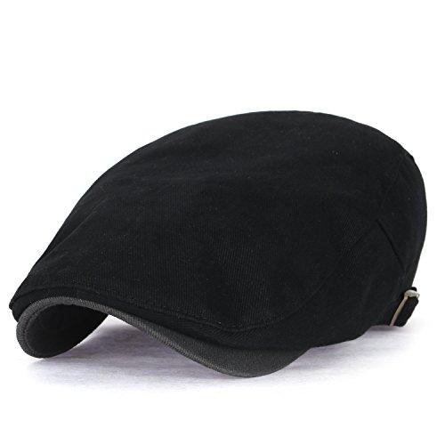 ililily ililily Zwei Ton Baumwolle angepasst Gatsby Schieber Hut Cabbie (Chauffeurhut) Golfermütze flach Cap, Black