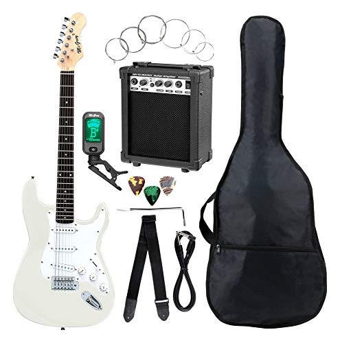 Set completo de guitarra eléctrica ST McGrey Rockit en blanco