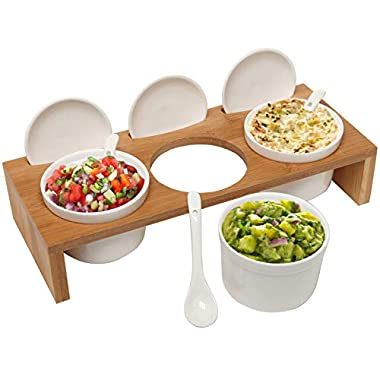 (3 Pcs) 3.5-Inch Ceramic Condiment Dip Sauce Ramekins Set w/ Lids & Spoons on Bamboo Sampler Serving Tray