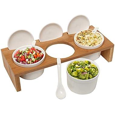 (3 Pcs) 3.5-Inch Ceramic Condiment Dip Sauce Ramekins Set w/Lids & Spoons on Bamboo Sampler Serving Tray