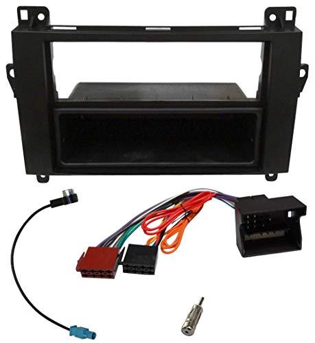 AERZETIX - Kit de Montaje de Radio de Coche estándar 1DIN - Marco, Cable Enchufe y adaptadores de Antena - Negro - C1954A