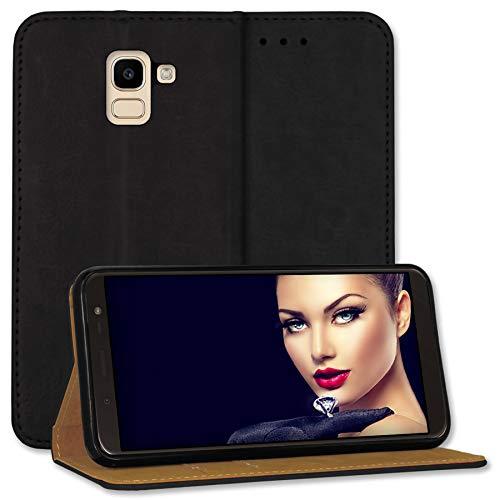 mtb more energy® Leder-Tasche Bookstyle für Samsung Galaxy J6 2018 (SM-J600, 5.6'') - schwarz - Echtleder - Schutz-Hülle Wallet Folio Cover Hülle