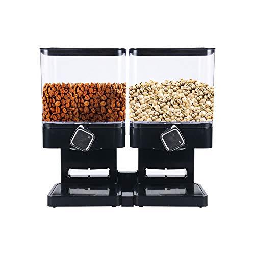 YaeKoo Müslispender/Wandhalterung Cerealienspender/Cornflakesspender/Doppel und Verdreifachen Spender für Müsli, Cornflakes und Cerealien Trockenfutter- Schwarz (Doppelt Quadrat)
