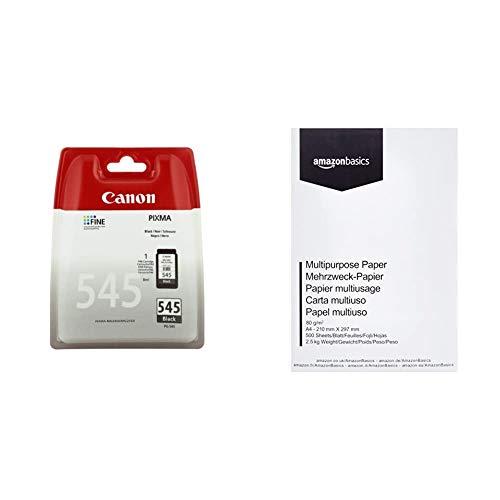 Canon PG-545 Cartuccia Originale Getto d'Inchiostro, 1 Pezzo, Nero & Amazon Basics Carta da stampa multiuso A4 80gsm, 1 risma, 500 fogli, bianco