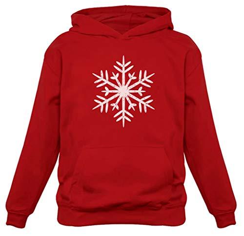 Big White Snowflakes Christmas Sweatshirt Xmas Women Hoodie Small Red