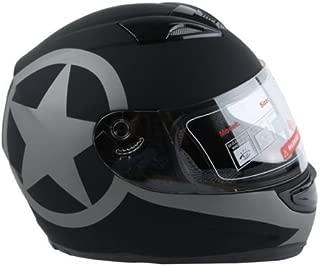 TCMT New Matte Black Star Dual Visor Full Face Motorcycle Helmet + Smoke Sun Shield (X-Large (61-62CM))