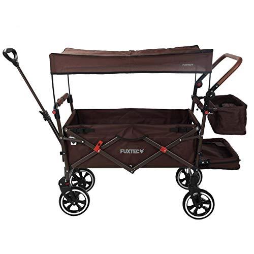 FUXTEC faltbarer Bollerwagen FX-CT850 Braun – klappbar mit Dach, Vorder- und Hinterrad-Bremse, Vollgummi-Reifen & Innenraumverlängerung – für Kinder geeignet – Das Original