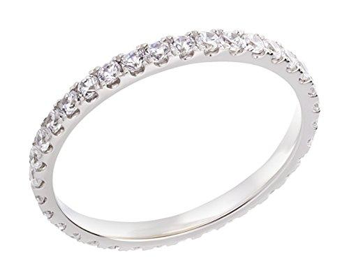 Ardeo Aurum Damenring aus 375 Gold Weißgold mit Zirkonia im Brillant-Schliff Memory-Ring Eternity Vorsteckring
