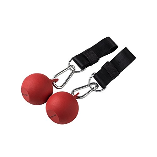 IRON COMPANY Body-Solid Cannonball Grips with Straps - Pair - 3 inch Diameter Pull-Up Balls for Grip Strength - Steel Ball Grip Cable Attachments