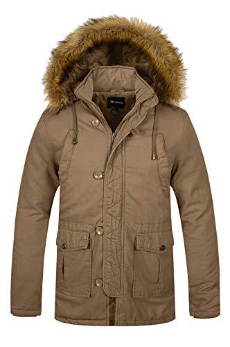 Wantdo Men's WinterHoodedWindproofCoat WarmCottonPaddedCoat ThickenedLongSleeveJacket Outdoor ParkaJacket Khaki S